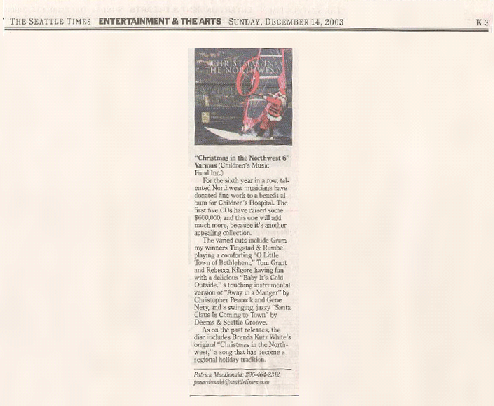 Christmas in the Northwest in the Seattle Times 12-14-2003