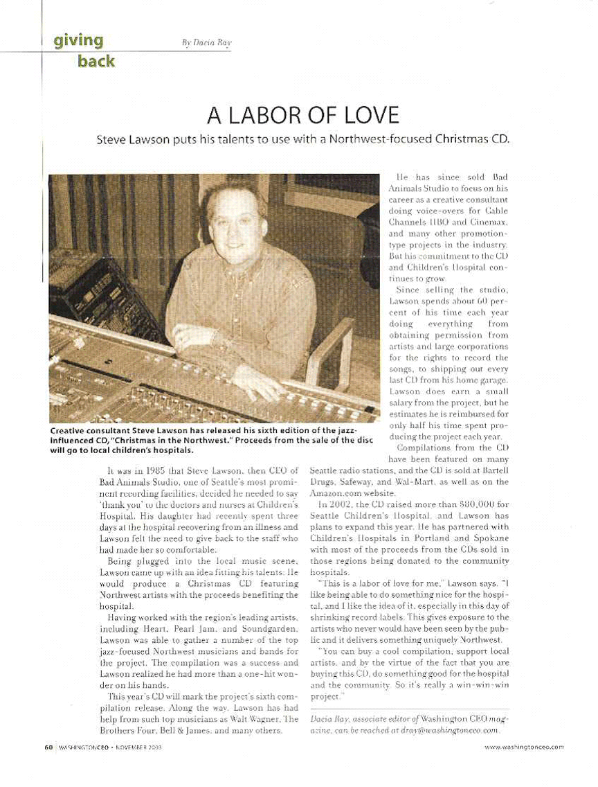 Steve Lawson featured in Washington CEO magazine in 2003
